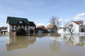 KRALJEVO, SERBIA - MARCH 8. 2016: River Morava flooded local houses at Kraljevo, suburbs Grdica, on 8th March 2016.